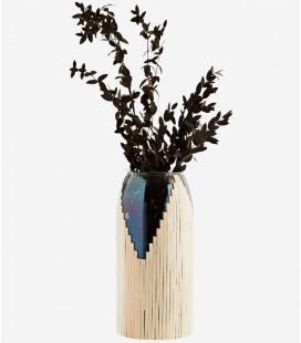 Vase verre fumé & canne nature - 13x26 - Madam Stoltz