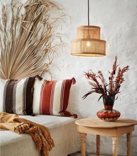 Vase Orange & Brun grand col - Grès - 22x23 - Madam Stoltz