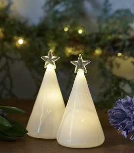 Heaven Tree - 2 petits sapins blancs LED - Verre - 9 cm - Sirius