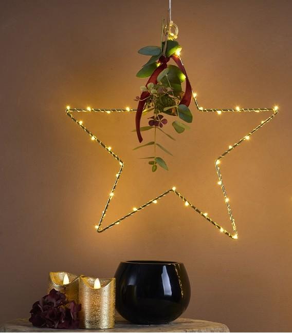 Suspension étoile 40 led Or - Sirius
