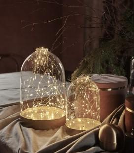 Bianca L - Dome Verre & Or guirlande 80 LED - H : 34 cm - Sirius