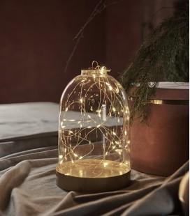 Bianca M - Dome Verre & Or- guirlande 40 LED - H : 23 cm - Sirius
