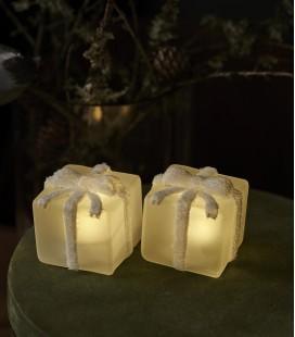 Set 2 cadeaux de Noël LED - Verre givré - Blanc - 6x6 cm -Sirius