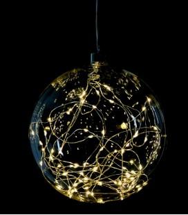 Glitter - Suspension Boule  LED - 15 cm -  Verre fumé
