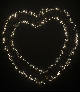 Glitter - Coeur Guirlande LED - Noir - 35x34 - Pomax