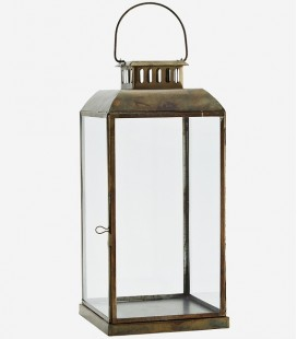 Lanterne Laiton & Verre  L - 21x21x46 cm - Madam Stoltz