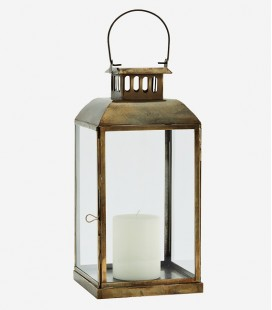 Lanterne Laiton & Verre  S - 17x17x36 cm - Madam Stoltz