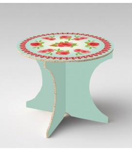 Table bohème bleu vert en carton alvéolaire – Christelle Gossart