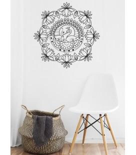 "Sticker mural mandala ""le paon"""