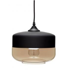 Lampe suspension métal noir et verre taupe fumé - Hübsch