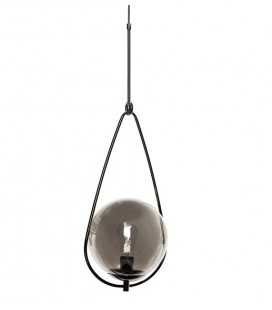 Lampe suspension ronde métal et verre gris fumé - Hübsch