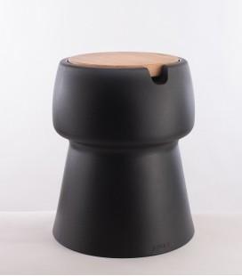 CHAMP – Tabouret Glacière – Noir & Chêne – JOKJOR