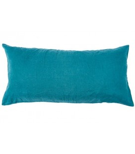 Coussin rectangle Lin Lavé Coloris Paon, 55x110 - Harmony