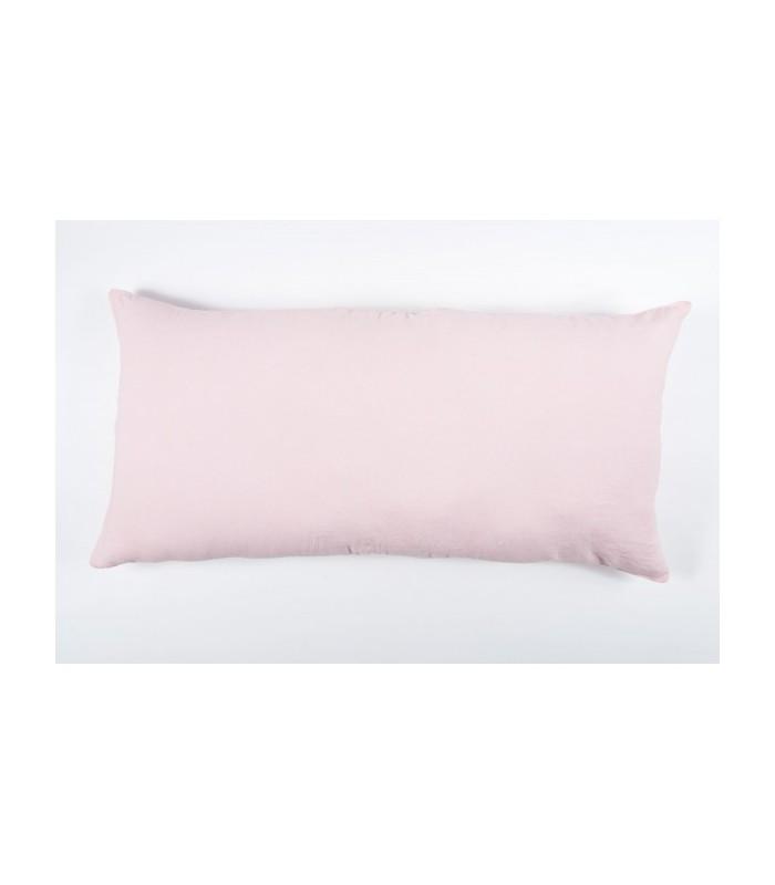 Coussin rectangle Lin Lavé Coloris Poudre, 55x110 - Harmony