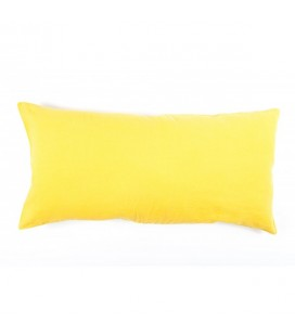 Coussin rectangle Lin Lavé Coloris Curry, 55x110 - Harmony