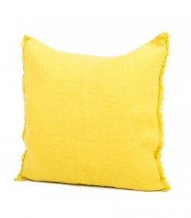 Coussin Lin Lavé Coloris Curry, 45x45 Harmony