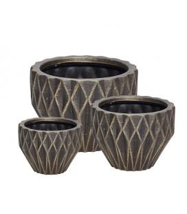 Set de 3 cache-pots en terre cuite Noir & Or - Hubsch