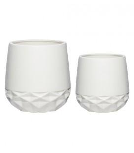Set de 2 cache-pots céramique Blanc - Hubsch