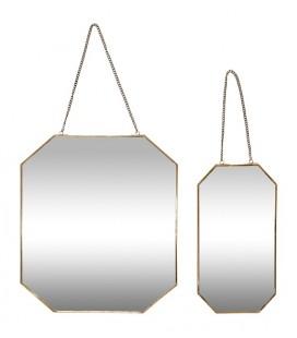 Set de 2 miroirs suspendus cadre laiton - Hubsch