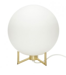 Lampe ronde verre blanc et laiton – Hübsch