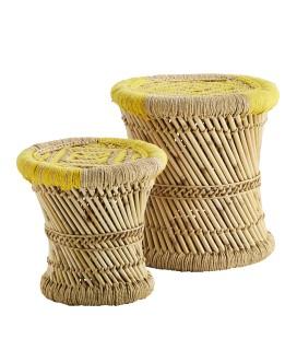 Set de 2 tabourets en bambou naturel et jaune Madam Stoltz