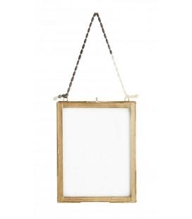Cadre photo suspendu laiton et verre - 20 x 25 cm - Madam Stoltz