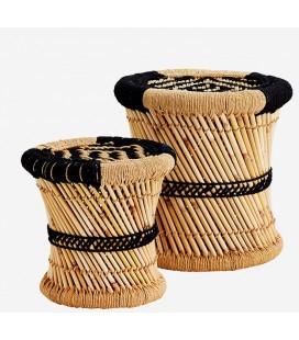 Set de 2 tabourets en bambou naturel et noir Madam Stoltz