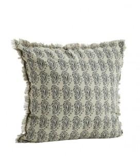 Coussin Ecru & Gris à franges, en coton, 50 x 50 – Madam Stoltz