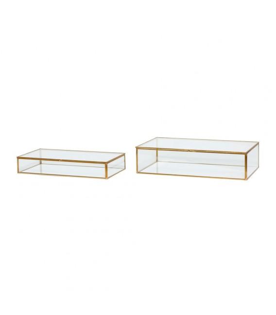 Set de 2 Boîtes à bijoux verre et laiton - Hubsch