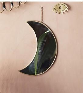 Miroir suspendu Lune - Laiton - H: 30 cm - Madam Stoltz