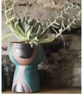 Vase Terracotta - Vert, Noir, Naturel - 14x20,5 - Madam Stoltz