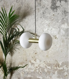 Suspension Gambi Double - Laiton & Verre blanc - ENO STUDIO