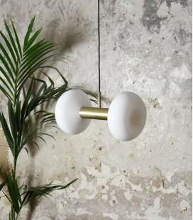 Suspension Gambi Double - Laiton & Verre blanc - ENO STUDIO