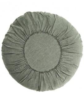 Coussin rond vert clair - Lin lavé - D : 60 cm - Madam Stoltz