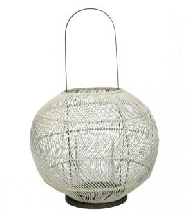 BULLE - Lanterne Rotin/fer -N&B - grande anse - D: 40 x 56