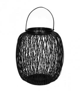 ZIGGY - lanterne bambou noir-  27 x 30 cm - Pomax