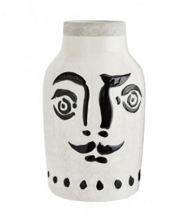 Vase Blanc visage noir - Madam Stoltz
