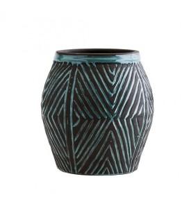 Cache-pot en terre cuite motifs bleu turquoise - Madam Stoltz