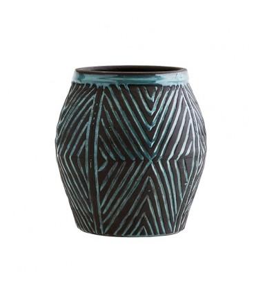 cache pot en terre cuite motifs bleu turquoise madam stoltz. Black Bedroom Furniture Sets. Home Design Ideas
