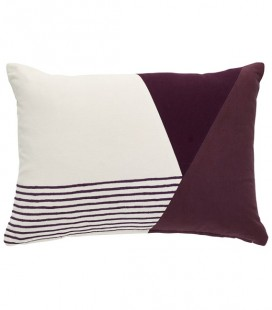 Coussin rectangle bordeaux blanc - 33x50 cm