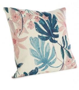 Coussin imprimé fleurs bleu & rose - 45x45 - SIMLA