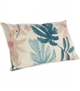 Coussin rectangle imprimé fleurs bleu & rose - 30x50 - SIMLA