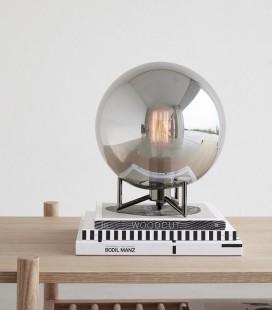 Lampe à poser - Globe Verre fumé & Pieds métal noir