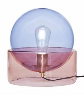 Lampe à poser Boule - Verre Bleu & Rose - 27x29 - Hubsch