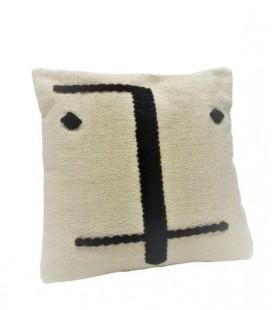 Coussin Visage en coton - écru & noir - 45x45 - SIMLA