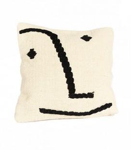 Coussin Smiling Face - coton écru & noir - 60x60 - SIMLA