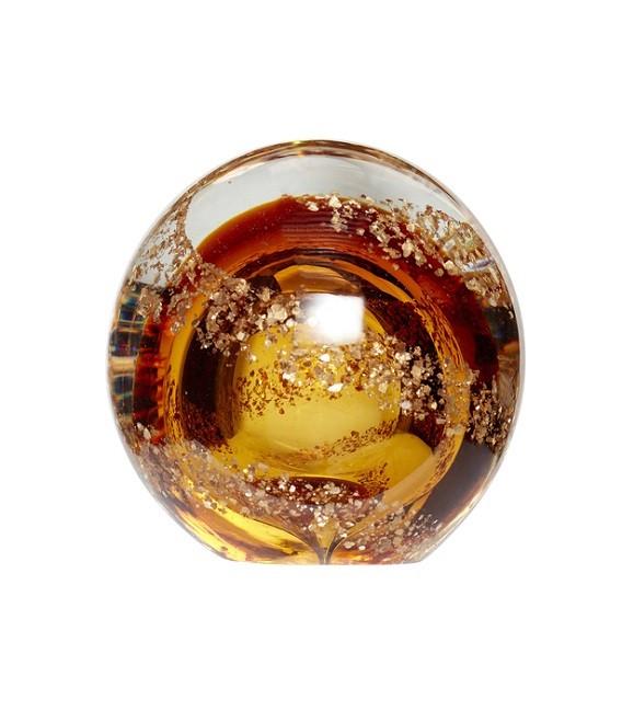 Presse-papier - Boule en verre - ambre & doré - Hubsch