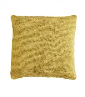 housse de coussin en tricot, coloris jaune safran, 80x80