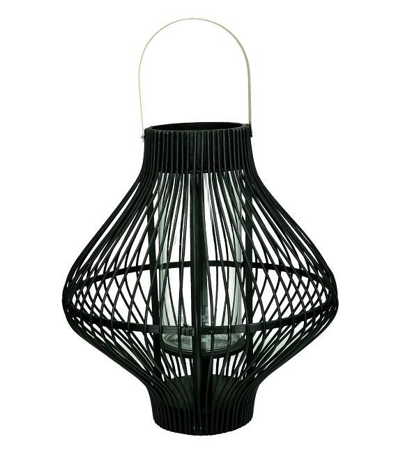 TULA - Lanterne  noire Bambou & métal - 39 x 43 - Pomax