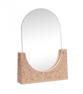 Miroir de table ovale - terrazzo rouge - 20x5x27 - Hubsch